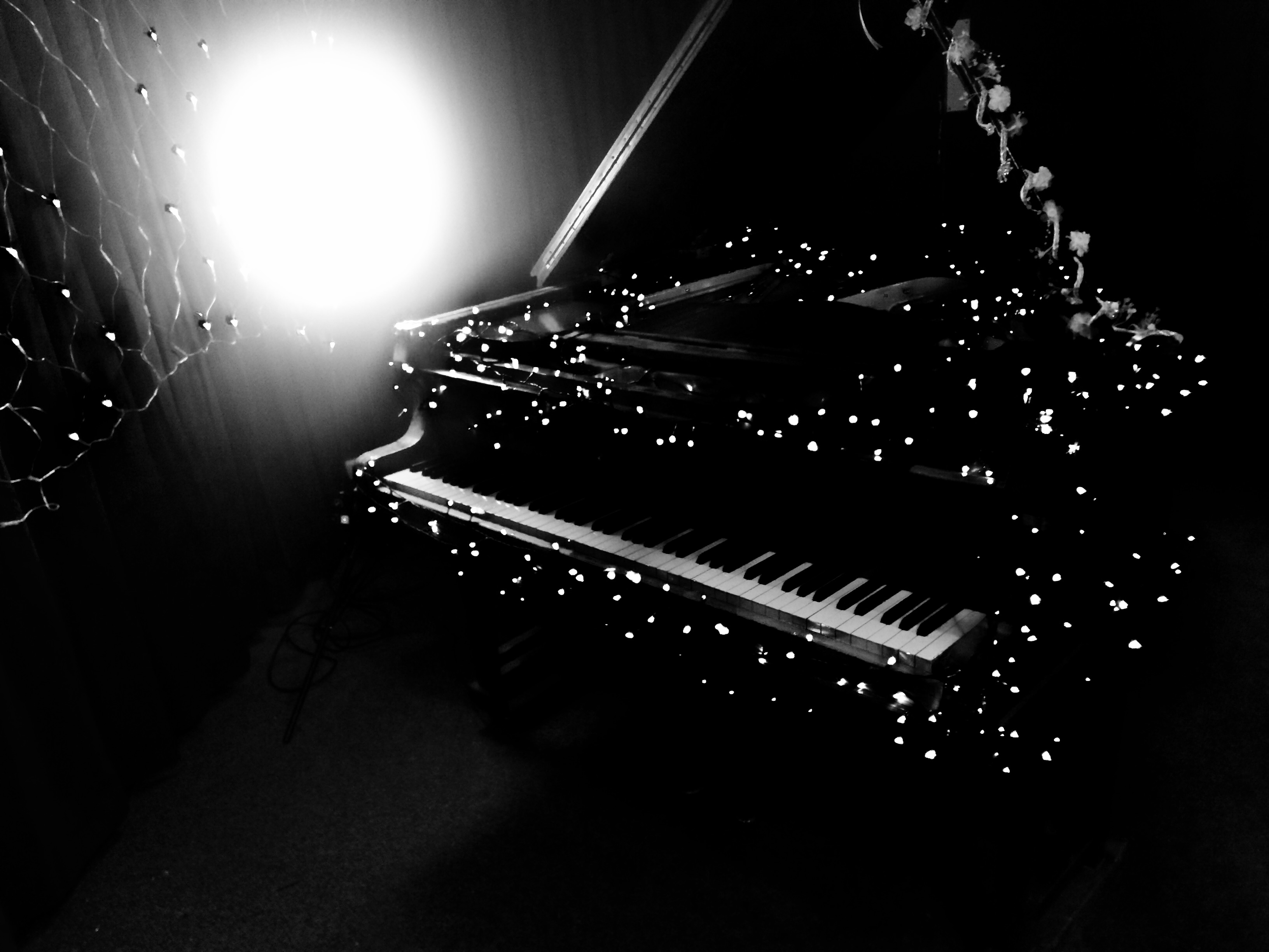'Here With Me' video shoot - piano BW